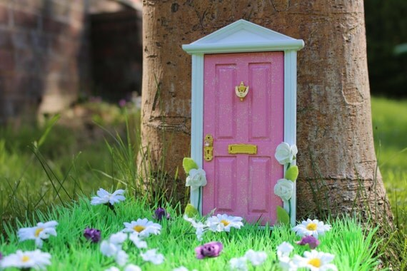 Items similar to pink magical fairy door with pretty for Fairy door with key
