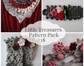 Crochet PDF Pattern Discount Pack #18 - 4 PDF Patterns,crochet necklace,lace warmers, crochet headband