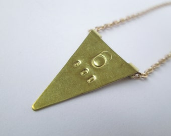 Brass Flag Stamped Necklaces