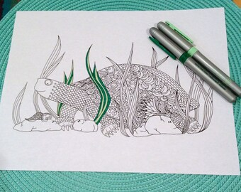 Turtle Coloring Page Zentangle Kids Adult Animal Doodle Design Printable Instant Download Zen Art The
