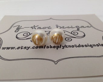Custom Monogrammed Pearl Earrings