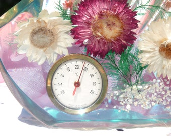 Lovely Vintage Thermometer - Inclusion In Resin - Flowers - Made In France - Paperweight - Home Decor - Summer Vintage Finds - TPT Team