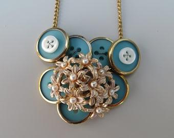 Aqua Pearl vintage button necklace