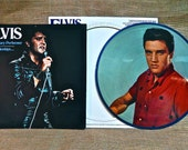CRAZY CUPID SALE Elvis Presley - Elvis Volume 3 - 1978 Vintage Vinyl Record Album...Picture Disc Applied to Blue Vinyl lp...Limited Edition.