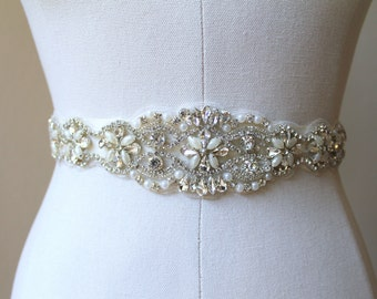 Bridal beaded crystal, pearl sash. Rhinestone applique wedding belt.  VINTAGE ELEGANCE
