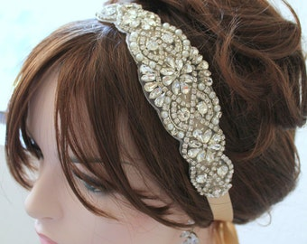 Bridal Silver Crystal, Pearl Headband. Gold Rhinestone Applique Wedding Headpiece. Rose gold Beaded Champagne Tiara, Crown. VINTAGE MODE