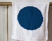 Knitting pattern, knit baby blanket, geometric, modern, circle