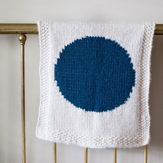 Geometric Blanket Knitting Pattern : Knitting pattern knit baby blanket geometric modern circle