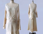 1920s Wedding Dress / 20s LIQUID SATIN Flapper Bridal Gown / Heavily Ruched / Huge Bow / V Back / AMAZING