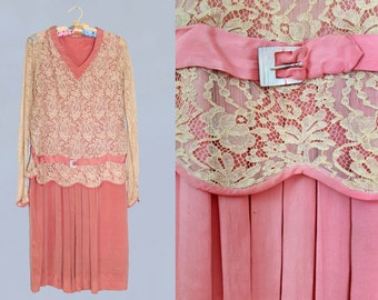 RESERVED 1920s Dress / 20s Silk and Lace Flapper Dress / XS