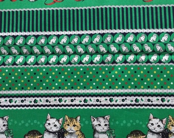 1M Japanese cotton fabric Green colour fabric Cat printed one yard