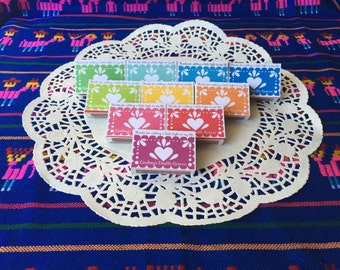 Papel picado match box magnets, colorful birthday party favors 20 magnets
