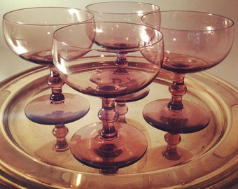 4 Purple Champagne Coupes
