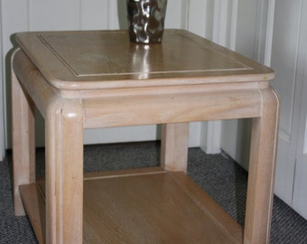 Vintage Square White Washed End Table 1990s Free Shipping