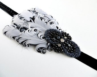New Years Eve White Black Feather Headband, 1920s Gatsby Dress Hair Accessories, 20's Flapper Headpiece, 1920s Headband, Gatsby Headpiece,