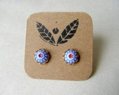 Vintage Blue and Red Post Earrings