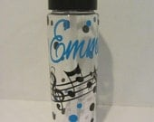 Personalized water bottle -  perfect gift for music teacher- music, choir, orchestra, band-  BPA free with flip top