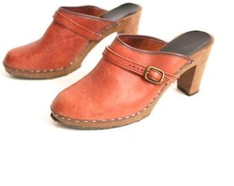 ITALIAN women's vintage BOHEMIAN clogs platform leather designer WOMEN'S size 9