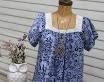 70's Midi Dress, Indigo Batik Muumuu, Crochet Trim, Square Neckline, Short Sleeve, Blue Hawaiian Tiki Design, Tent Dress, Small, Medium