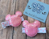 Mickey/Minnie Mouse Inspired Sequin Hair Clips-No Slip Hair Clips-Pink
