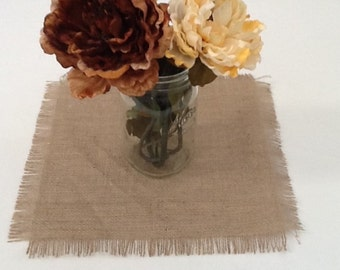 Burlap Table Square, Frayed Edge Square, Choose Your Size, Wedding, Shower, Party, Home Decor, Large Order Available
