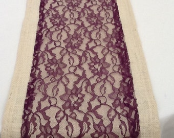 Burlap Table Runner with Purple Lace, Wedding, Party, Home Decor, Custom Size Available