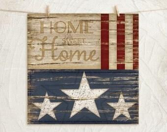 Home Sweet Home Flag- 12x12 Art Print -Home, Wall Art Decor, Patriotic, Flag -Red, White, Blue, Tan