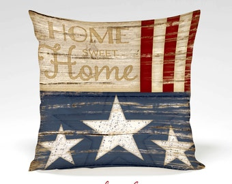 Home Sweet Home Decorative Pillow - 4th of July-Holiday, Star, Stripes, Home Decor -Full Inserted Pillow -Red, White, Blue