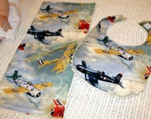 Fighter Jet Patterned Cotton & Vintage Chenille Baby Bib and Burp Cloth Sets