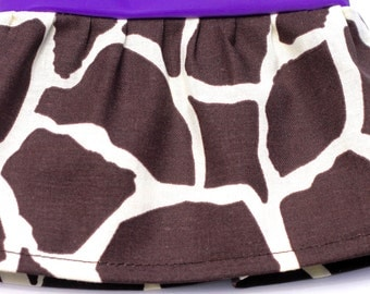 Giraffe Print Brown on Ivory - Fancy Ruffled Rubber Gloves - Cleaning Gloves - Dishwashing Gloves