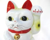 "Large 10"" Maneki Neko Lucky Cat Porcelain Piggy Bank"