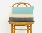Colorblock Outdoor Pillow in Aqua Blue, Grey and Beige | Pale Turquoise 12x18 inches Patio Cushion Cover | Modern Color Block Pillow Case