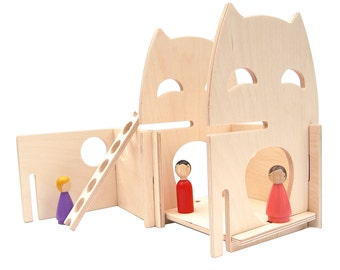 Natural Wood Owl PlayHouse for Children // Interactive and Modular Eco Friendly Wooden Toy Dollhouse for Kids with Creative Imaginations