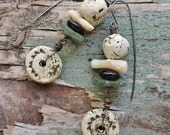 RESERVED Rustic, Tribal, and a bit Primitive for these bohemian handmade dangle earrings.