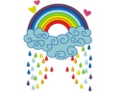 Rainbow color rain - for hoops 4x4 and 5x7, rainbow embroidery design, rainbow to INSTANT DOWNLOAD