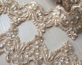 Champagne Alencon Lace Trim Pearl Beaded Sequined Lace Wedding Lace Trim Aulic Retro Lace 3.54 Inches Wide 1 Yard Bridal Veil Dress Supply