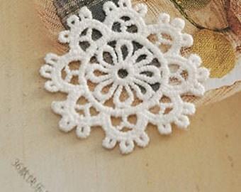 4pcs Snowflake Appliques Cotton Venice Patches