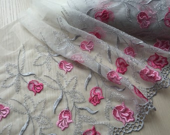 2 Yards Lace Trim Hot Pink Flower Embroidered Tulle Lace 9.84 Inches Wide