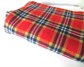 Oval Plaid Light Wool Tablecloth,  Retro Camping Red Orange Plaid Linens, 54x78