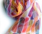 Hand painted silk scarf,chiffon,summer scarf,violet,yellow,orange,purple,black,summer wrap,abstract