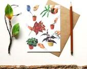 Green thumb blank card - indoor plants potted plants botanical print - terrarium flowers plants flora garden - gift for gardener