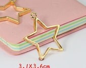 6pcs Gold Color Plated Metal  Moon  Resin Dipped Frame/Pendat/Charm