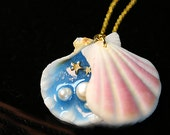4  Sets  35mm  Handmade Resin  Nature Shell  Pendant wtih Dipped Sand/Pearl/Stars