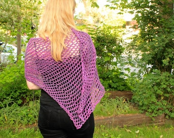 Asymmetrical is the best kind of Shawl: Organic Cotton and Handknit