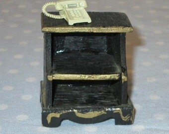 Vintage Doll House Furniture Miniature Black Painted Telephone Stand and Cast Metal Telephone Toy