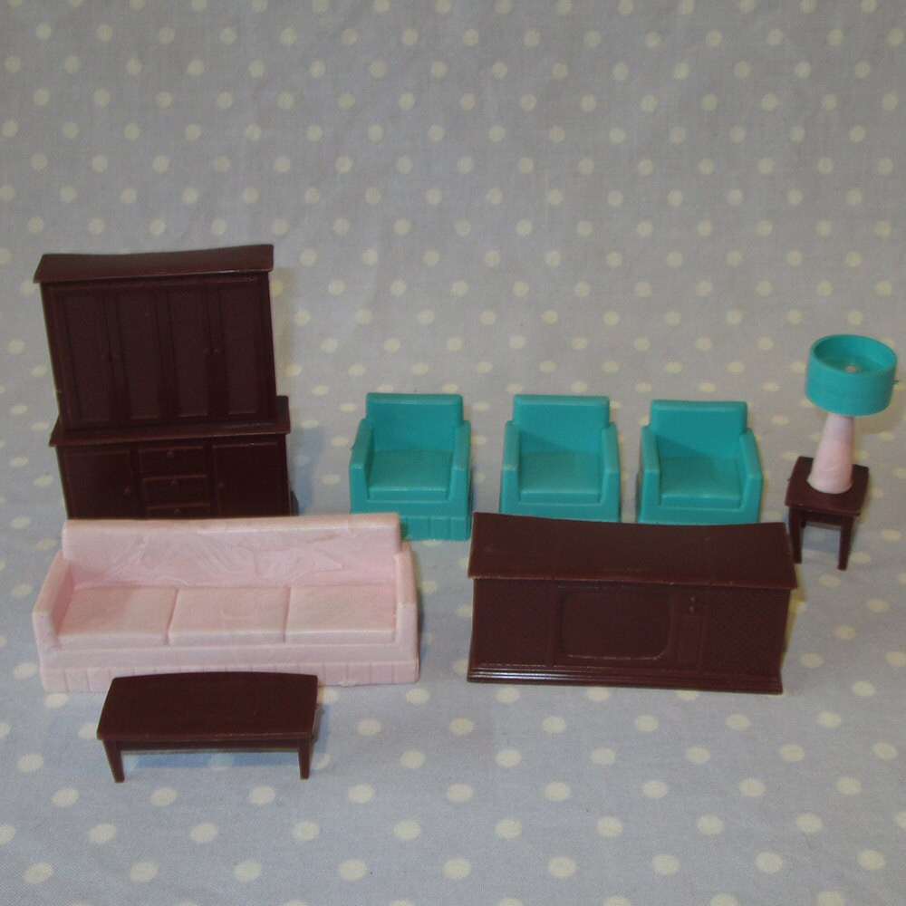 7 Pcs Vintage Doll House Furniture Miniature Plastic Living Room Sofa Couch Hutch Tv Chair Lamp