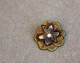 Pheasant and Peacock Green Fire Hairclip