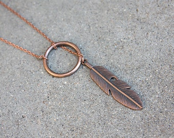 Copper Feather Lariat Necklace