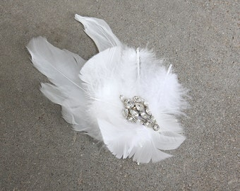 White Feather Fascinator with Vintage Rhinestone Cluster Brooch