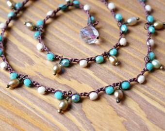 Turquoise Bohemian crochet necklace, wrap bracelet, trendy boho jewelry, beach, green, cream, cottage chic, pearl dangles